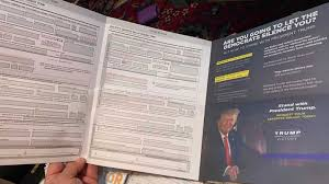 Trumps Face on ballot material equals fraud